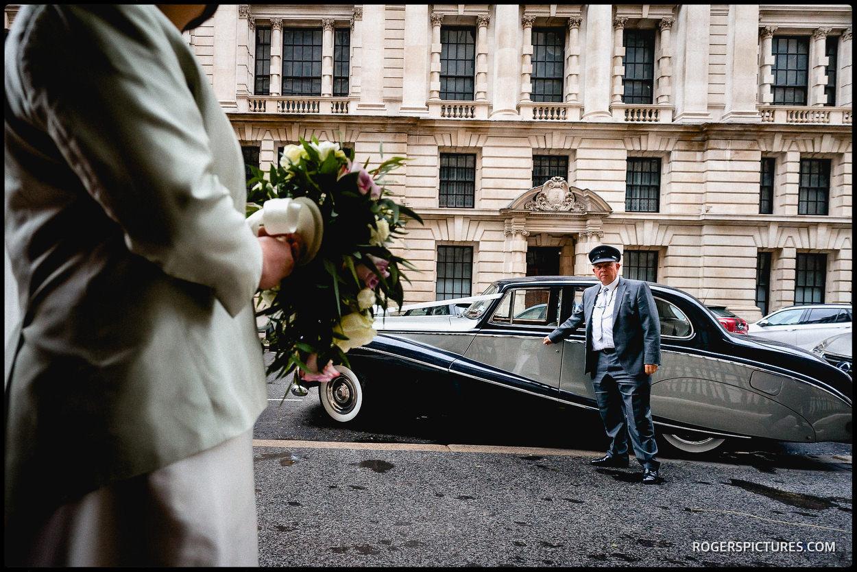 Wedding car outside the Farmers Club in Whitehall