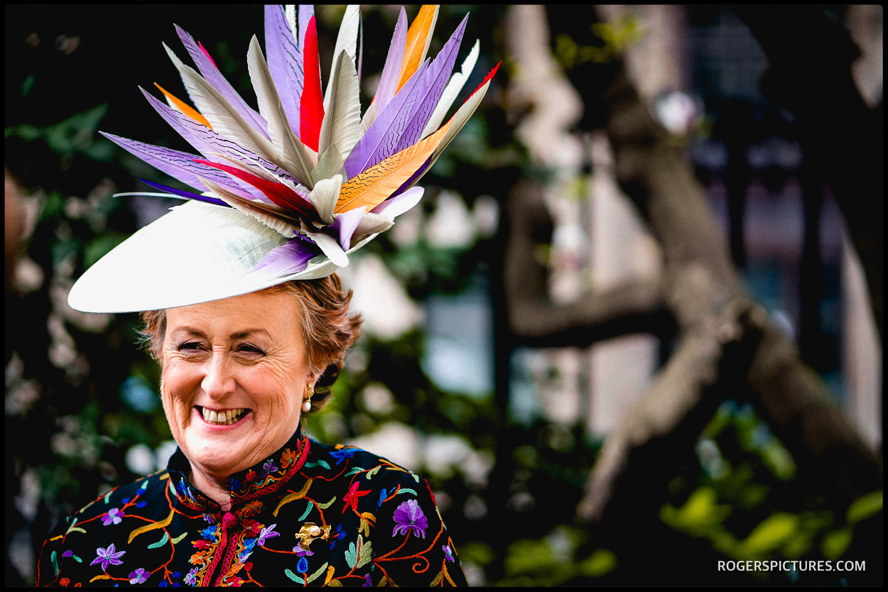 Mother of the bride in a wedding hat