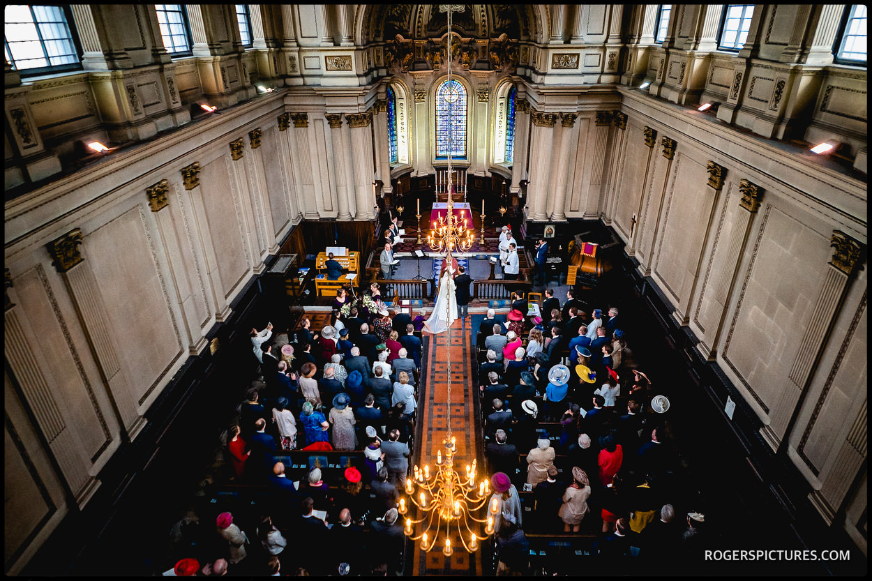 Wedding ceremony at St Mary le Strand in London