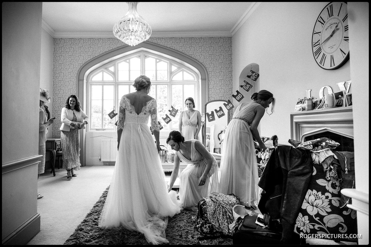 Bride and bridesmaids getting ready at Nonsuch Mansion