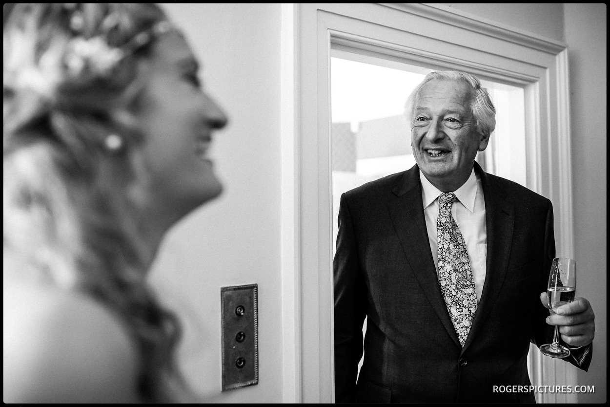 Fathers first look at bride