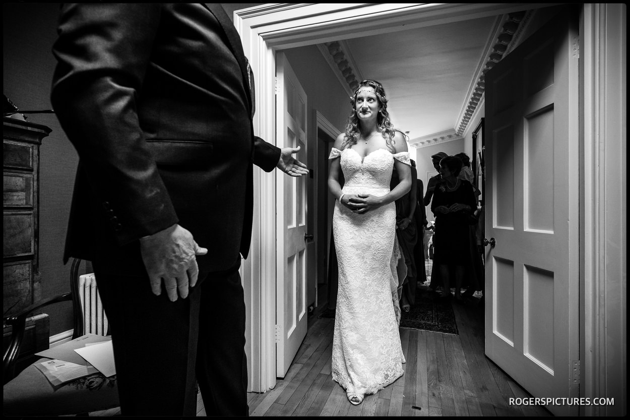 Father and daughter in a wedding day