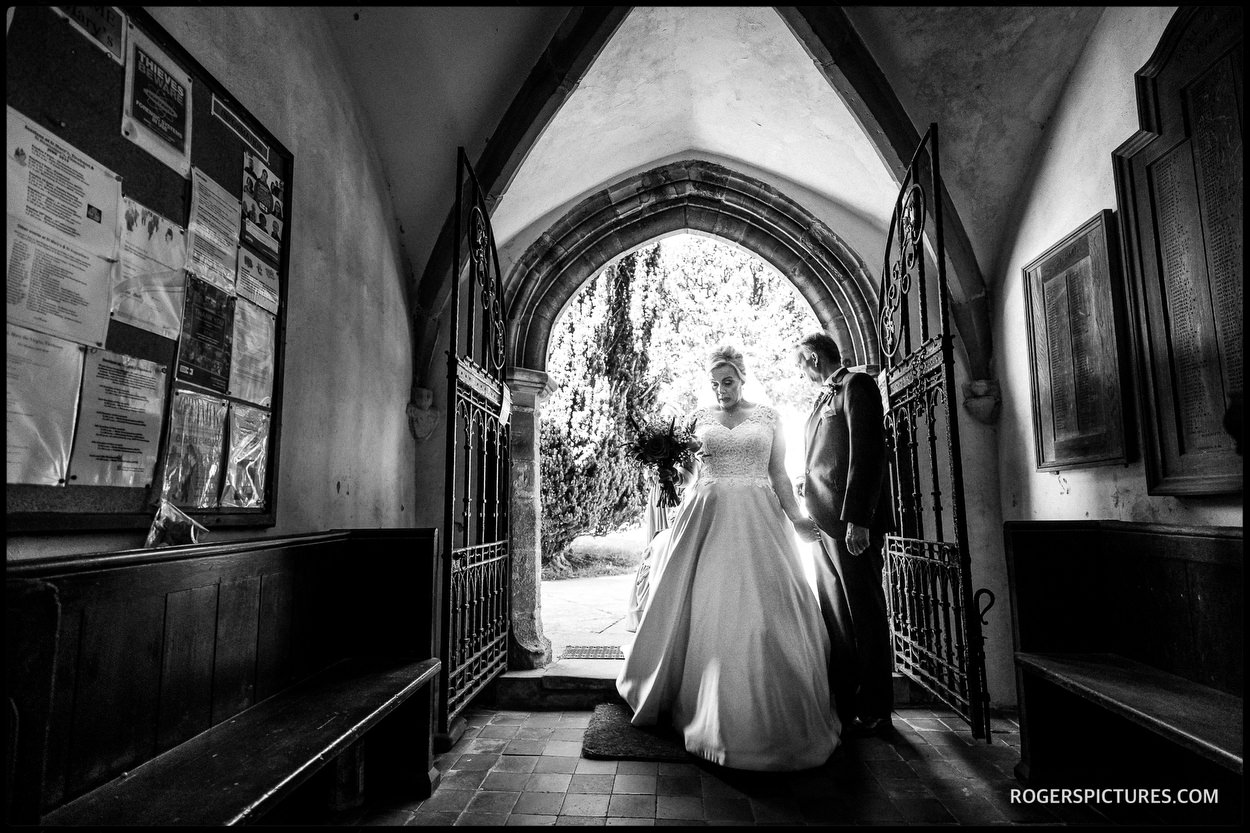 Bride arriving at church in Ticehurst Sussex