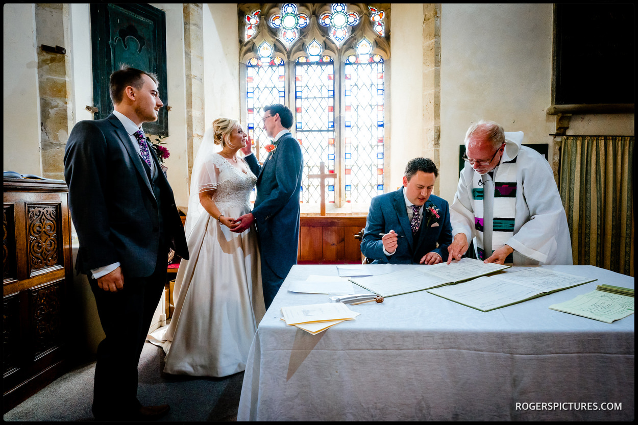 Signing the register at St Mary's church in Ticehurst