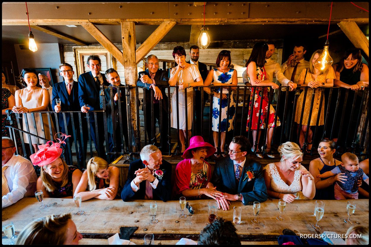 Wedding speeches in the Stable with a Table at The Bell
