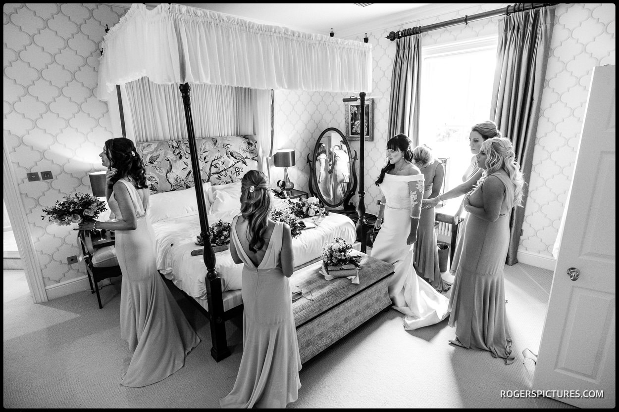 Black and white-hot of Bridal preparations at The Vineyard Hotel, Stockcross