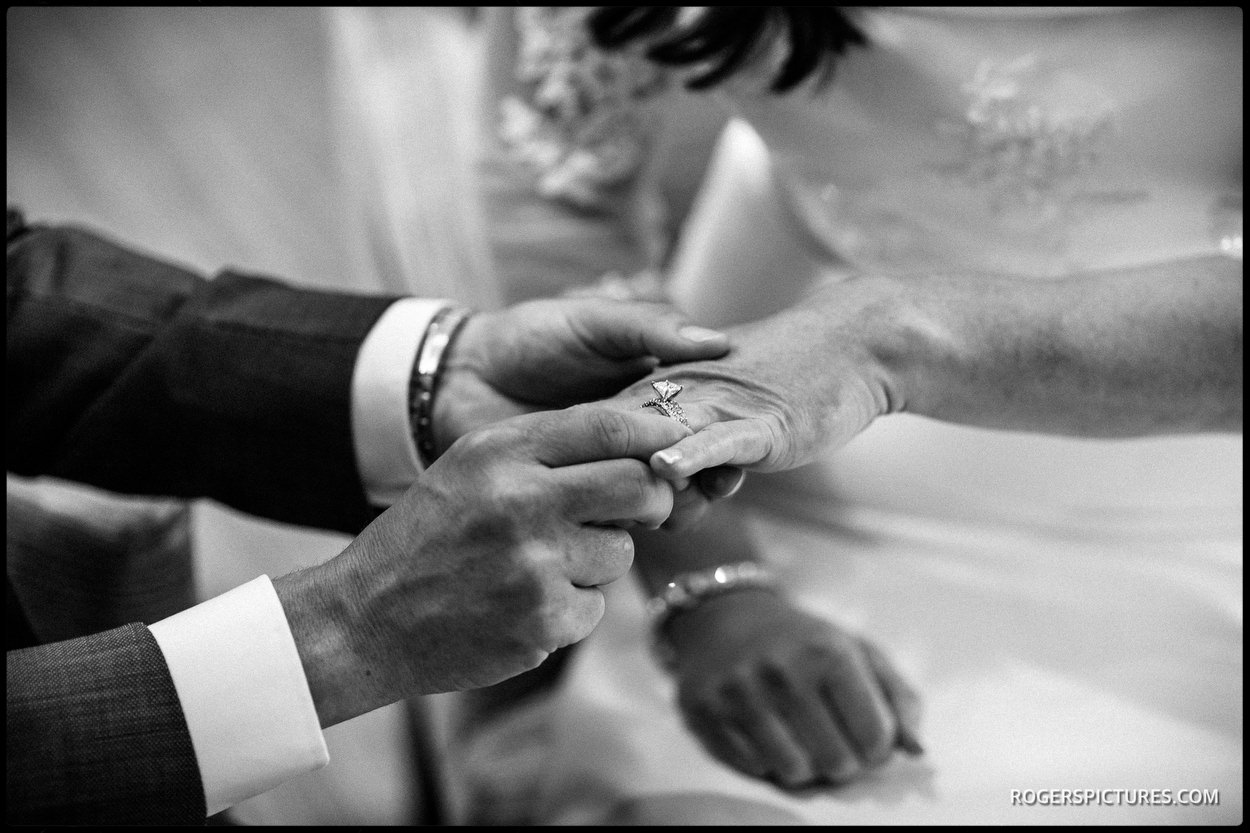 Documentary wedding photo during wedding ceremony at a hotel in Berkshire