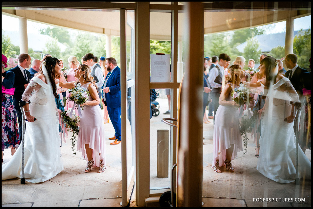 Bride and guests at The Vineyard Hotel in Stockcross