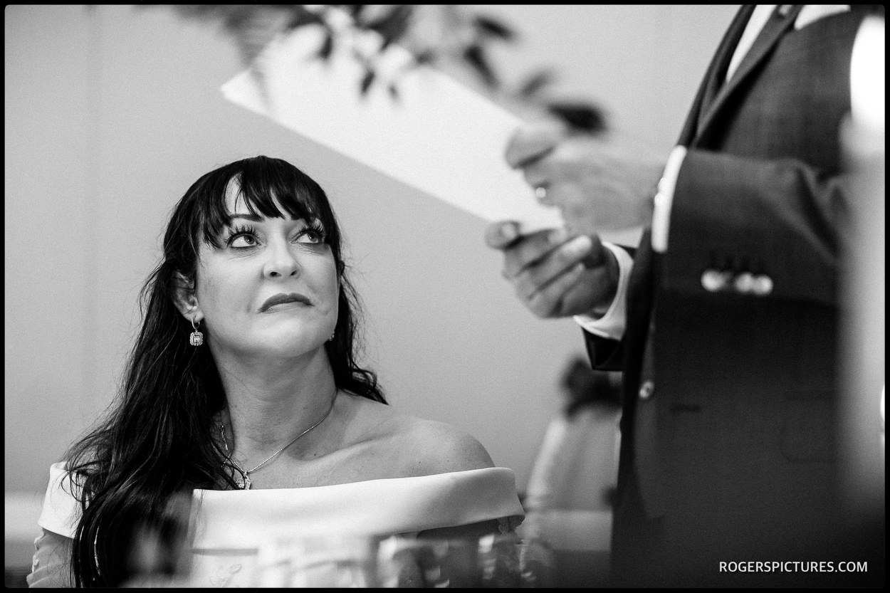 Wedding speech during the meal at The Vineyard Hotel