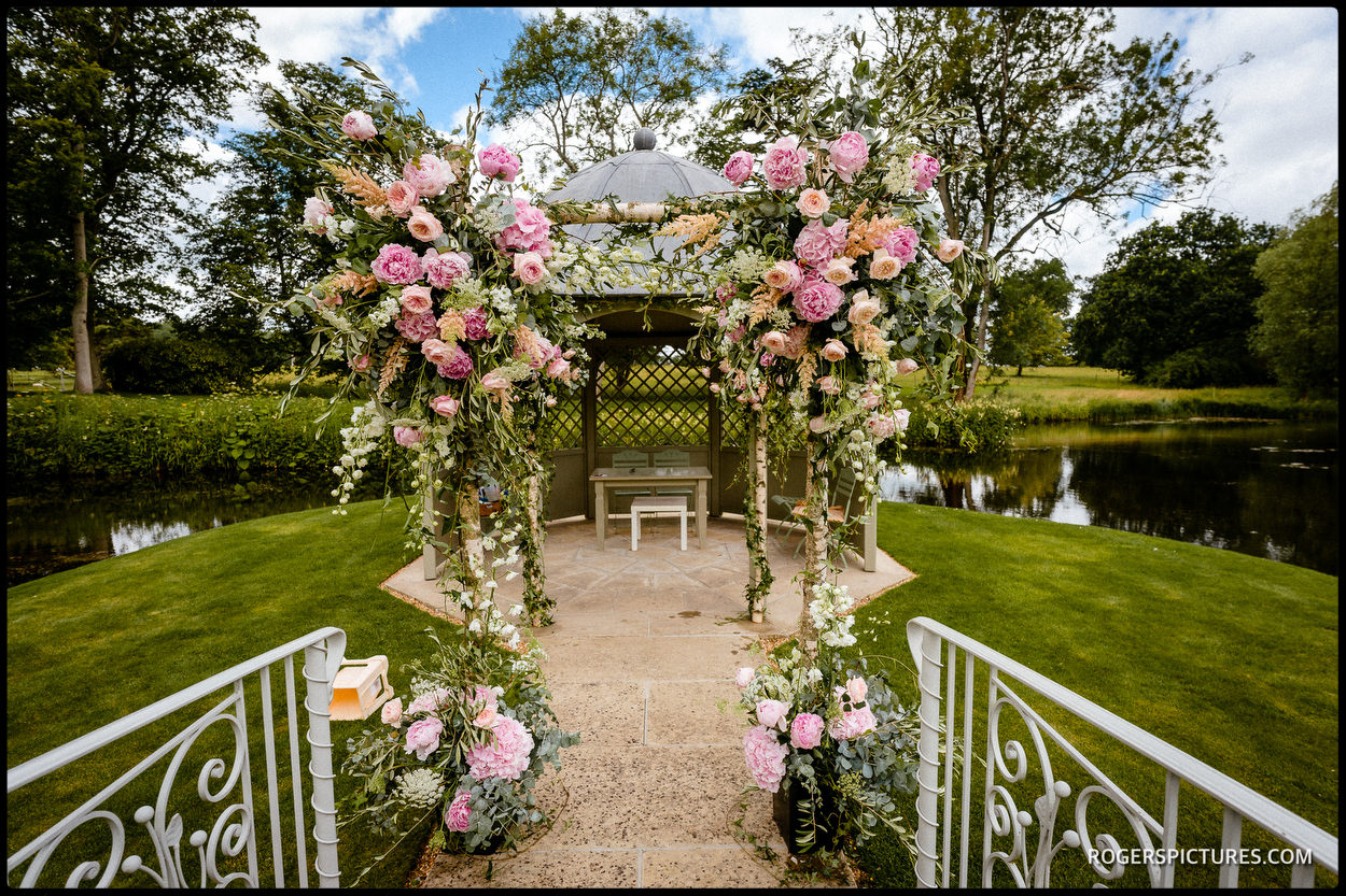 Jewish chuppah at Longstowe Hall in Cambridgeshire