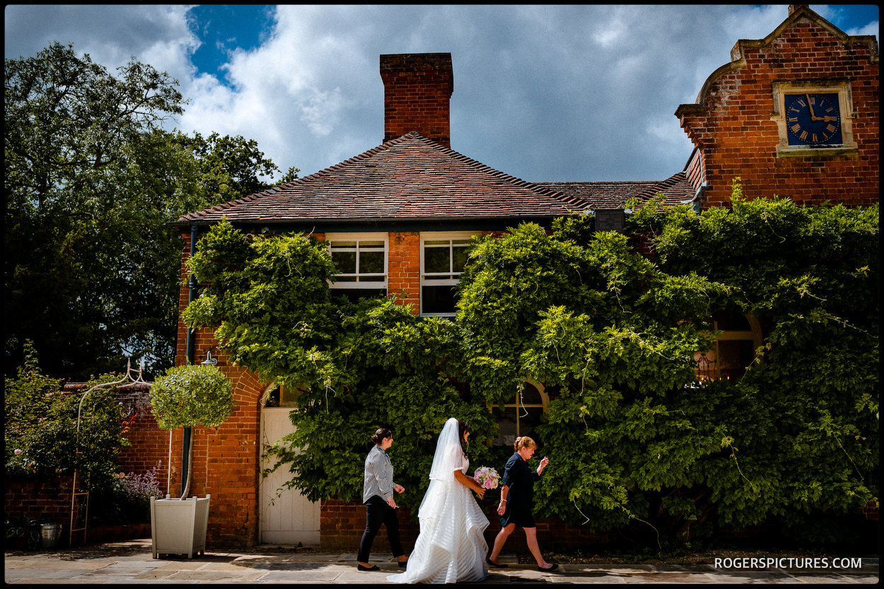 Bride leaving for ceremony at Longstowe Hall