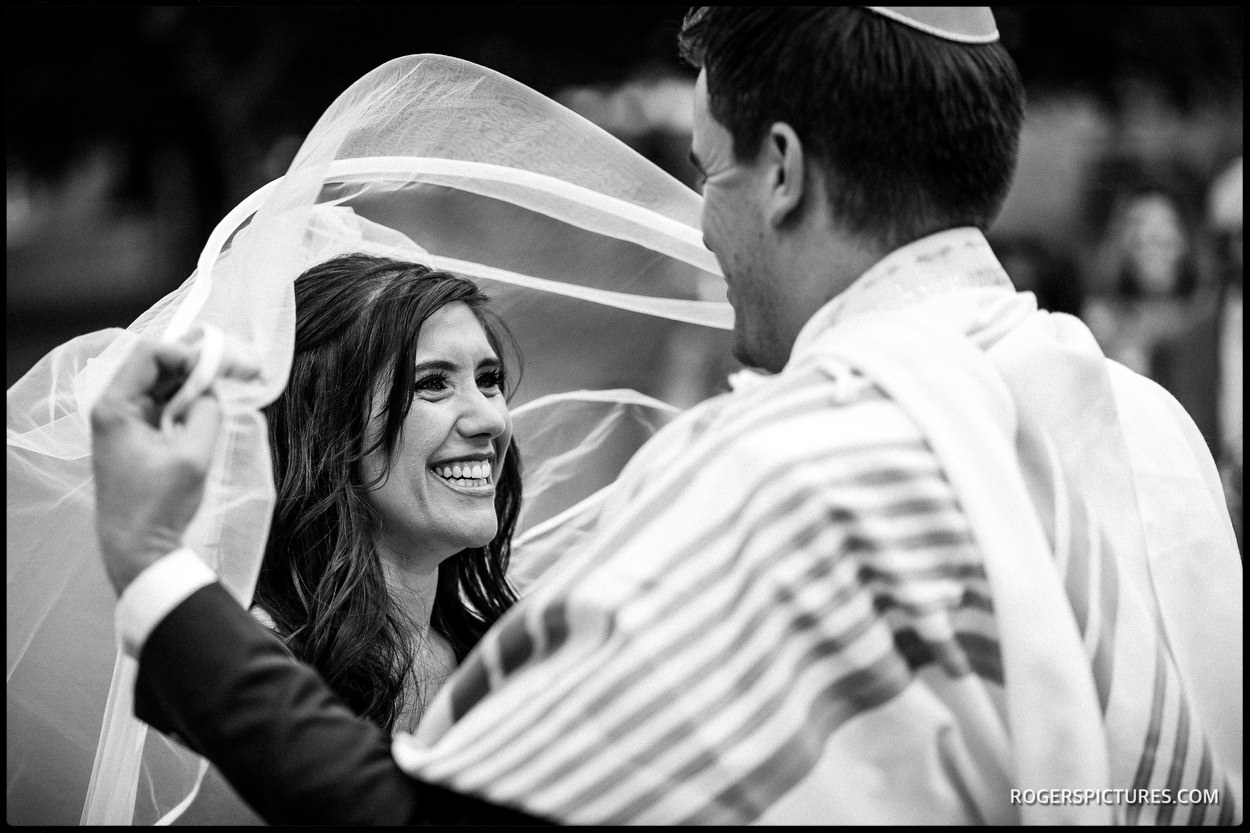 Jewish wedding veiling at Longstowe Hall
