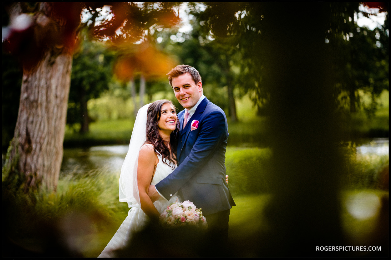 Couple portrait at Longstowe Hall wedding