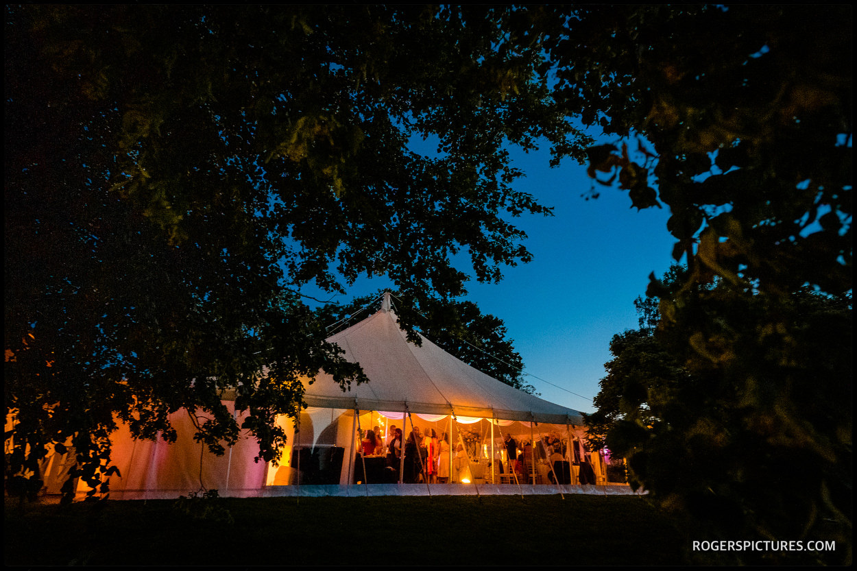 Evening marquee at Longstowe Hall wedding