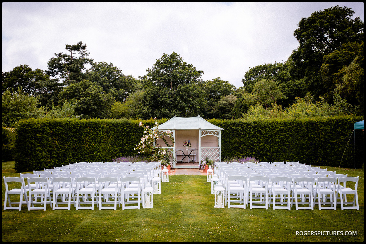 Outdoor ceremony setting at Wadhurst Castle