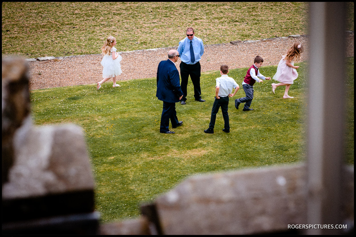 Wedding guests at Wadhurst Castle