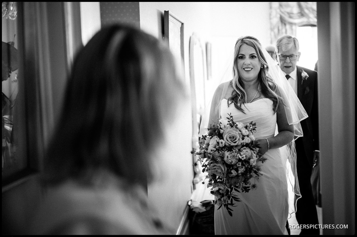 Black and white wedding photo at Wadhurst Castle in Sussex