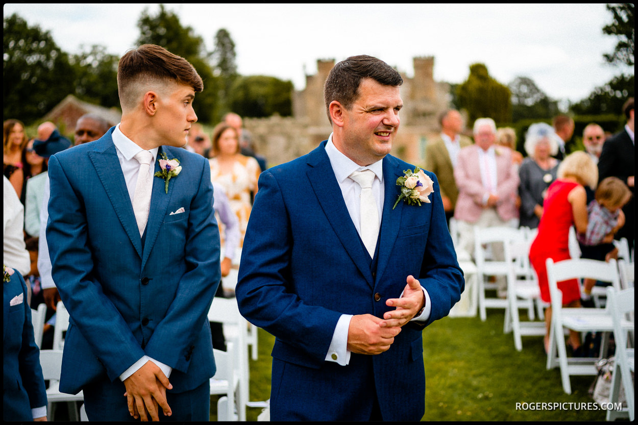 Nervous groom and best man