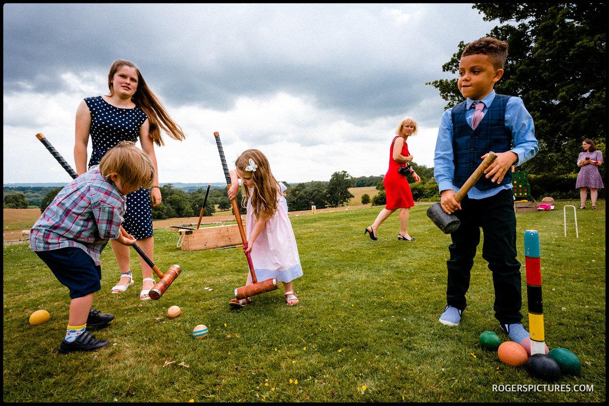 Croquet at a wedding reception