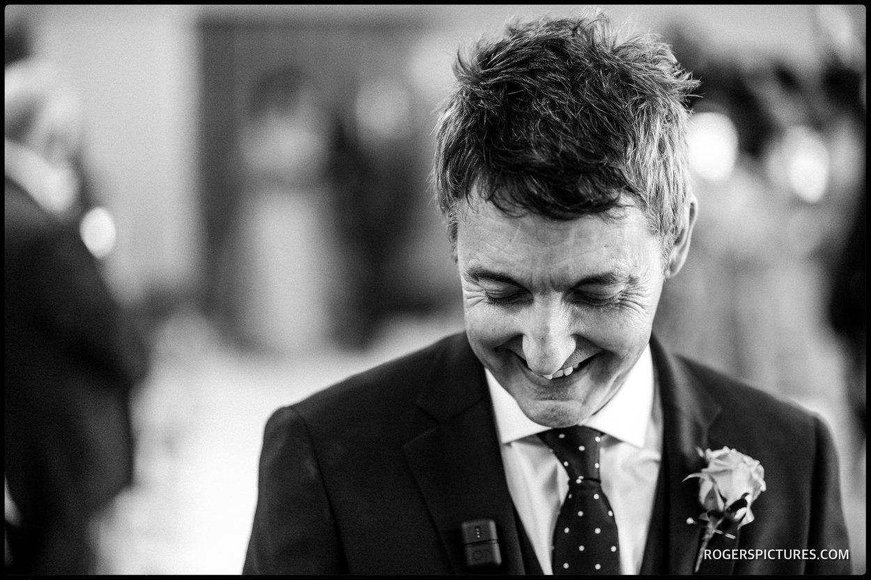 Nervous groom at Oatlands Park Hotel