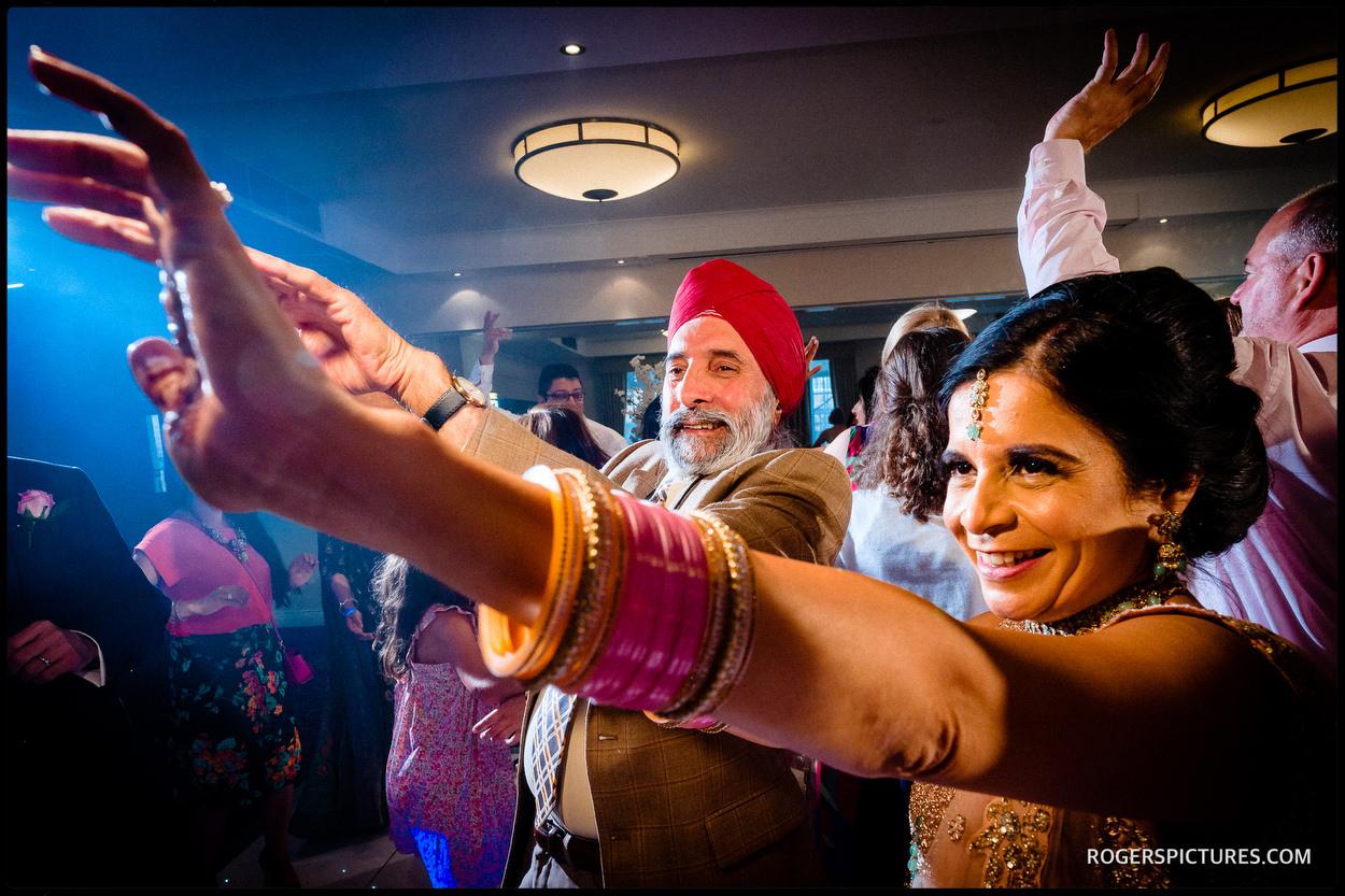 Wedding party dancing in surrey