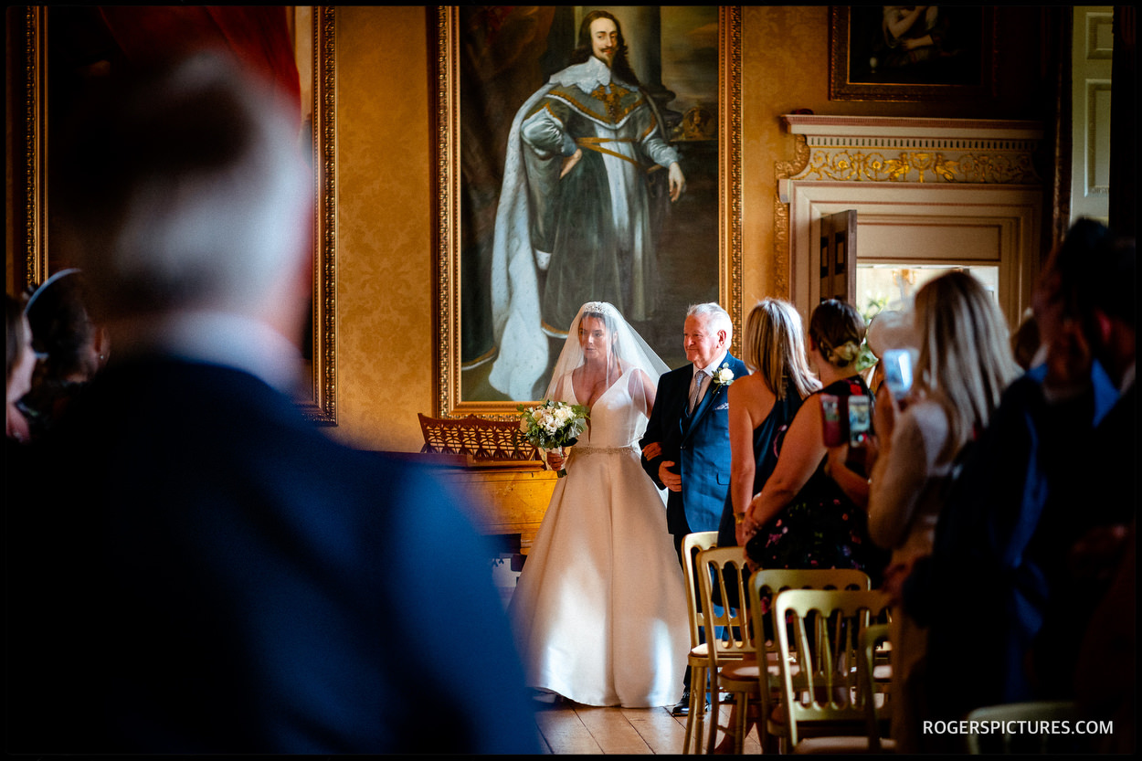 Brocket Hall wedding ceremony in the ballroom
