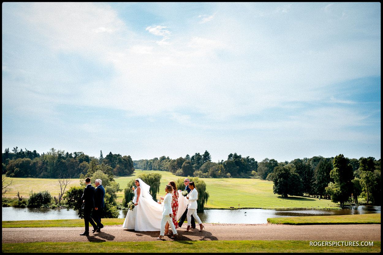 Summer scene at Brocket Hall golf club wedding