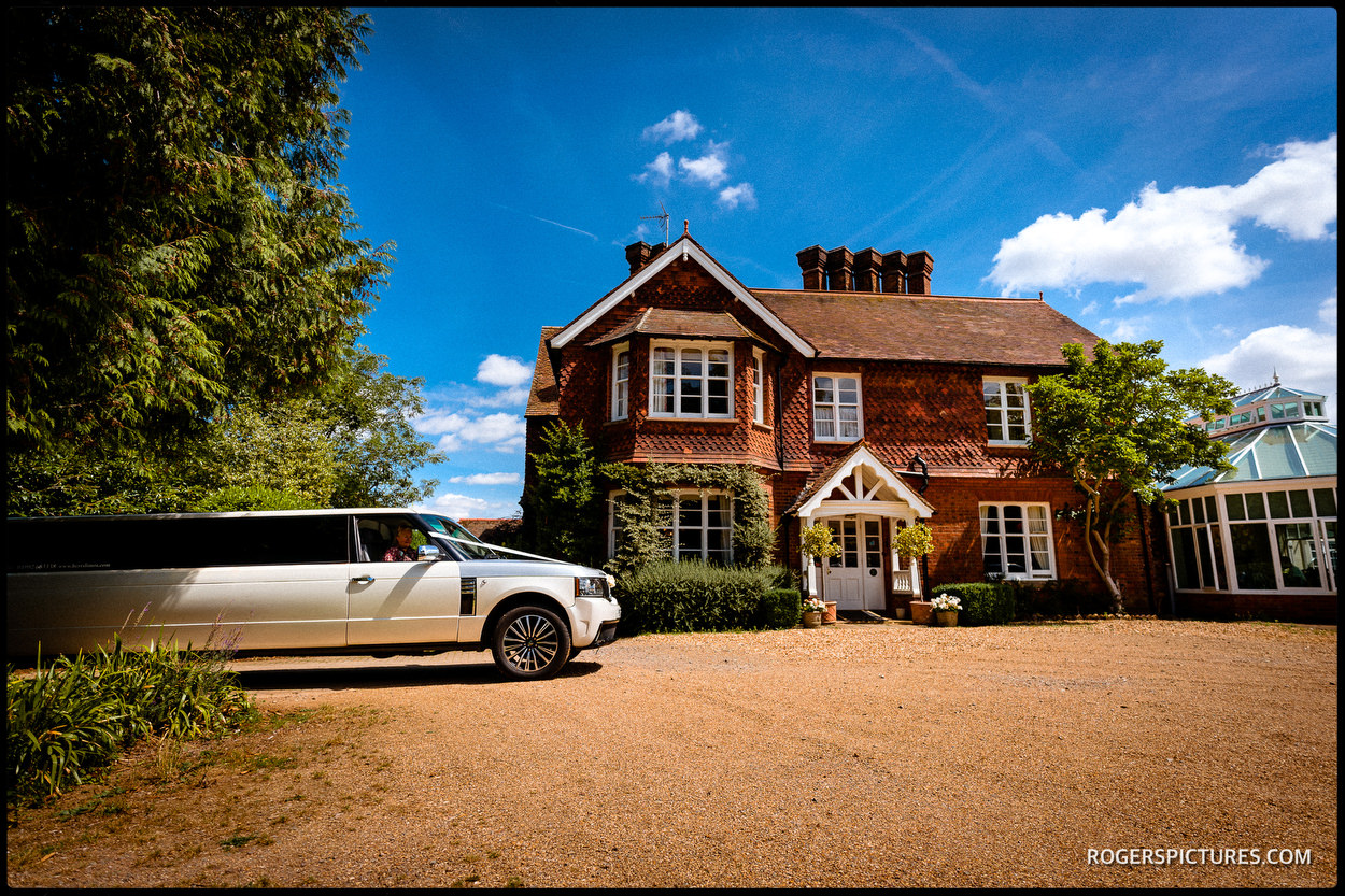Stretch limo at Redcoats Farmhouse wedding