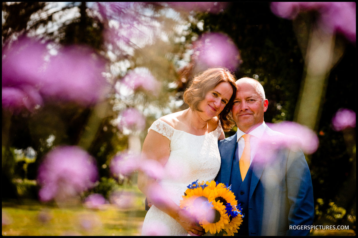 Bride and groom portraits at Redcoats Farmhouse in Hitchin