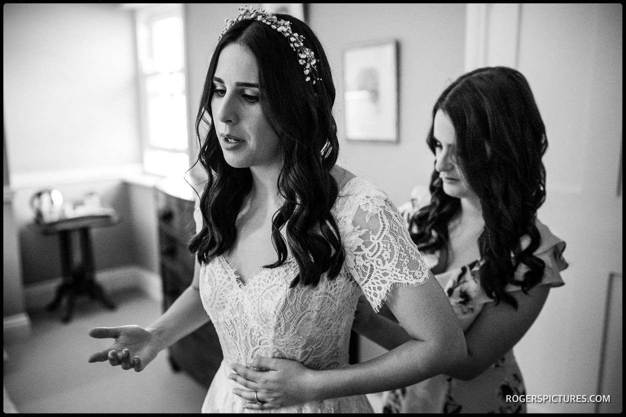Bride preparations at Lawn House in Hatfield Hertfordshire