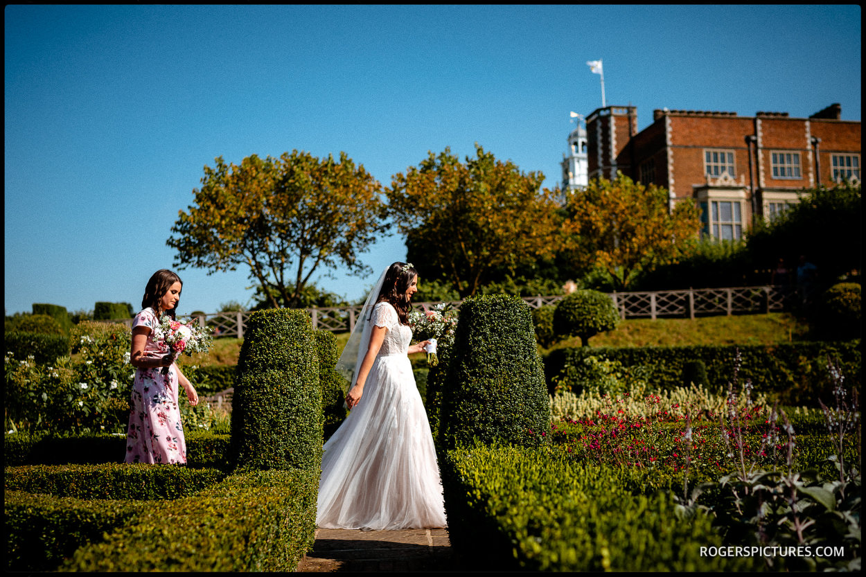 Bride arrives for Bedeken at Hatfield House wedding