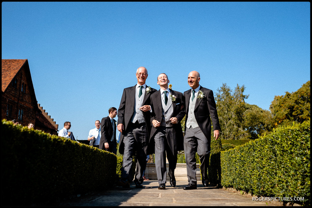 Groom escorted to Bedeken at Hertfordshire wedding