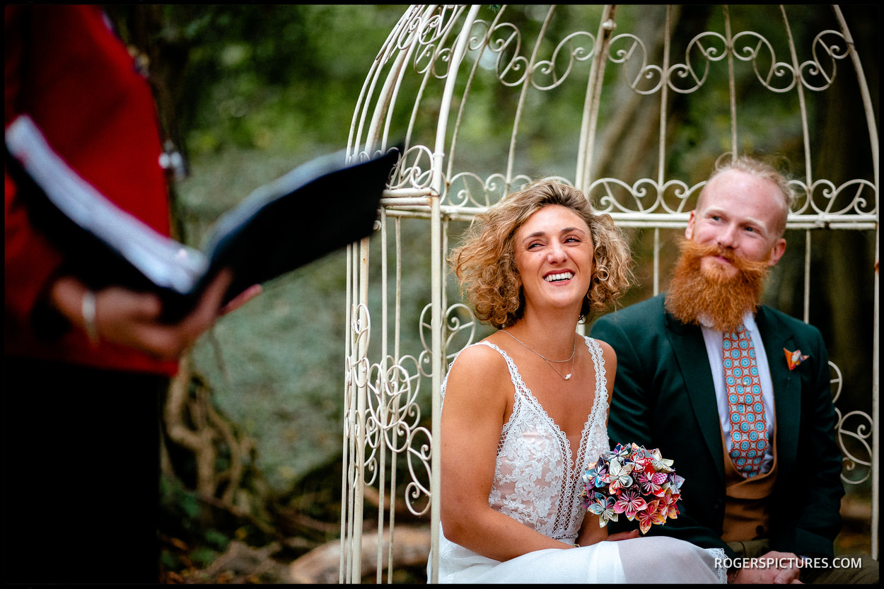 Bride and groom at Outdoor wedding ceremony in East Sussex