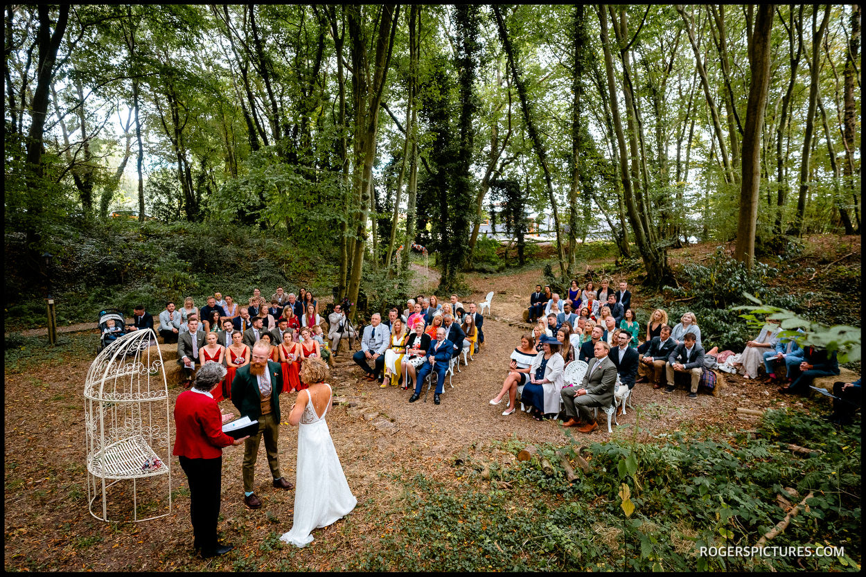 Outdoor wedding ceremony in East Sussex