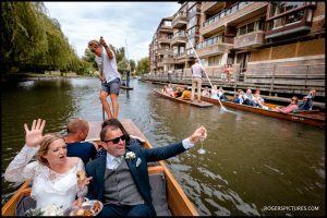 Punting at a Cambridge Wedding
