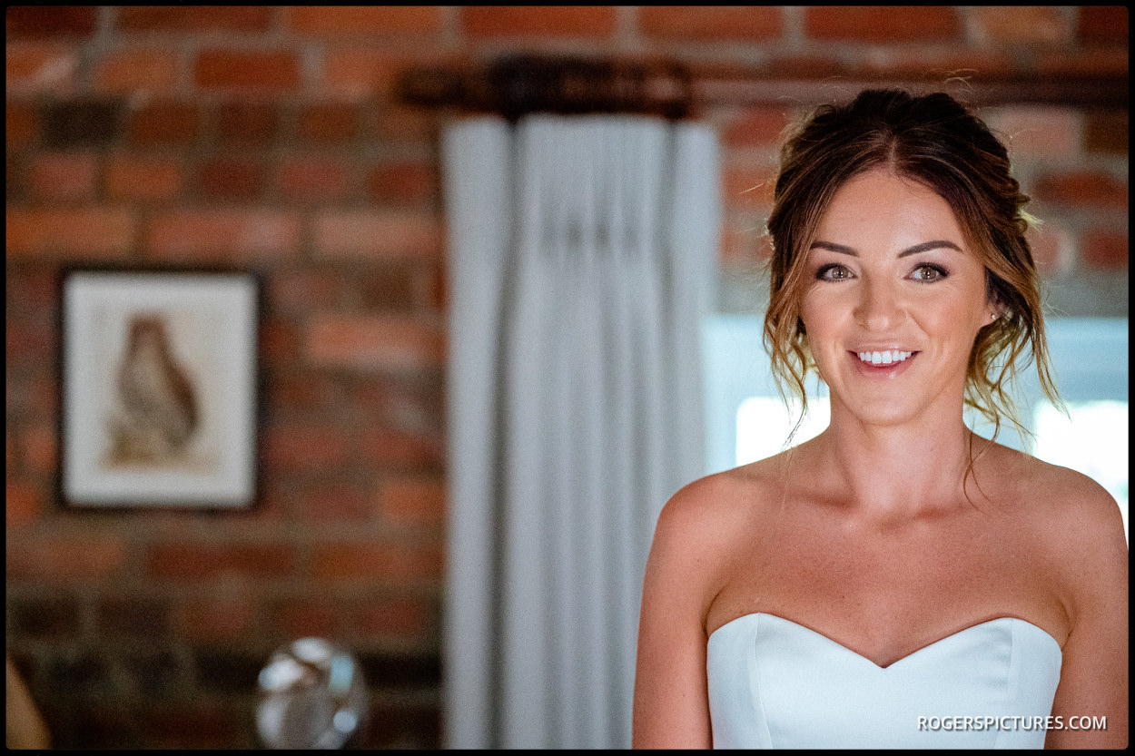 Bride in bridal suite at Wasing Park