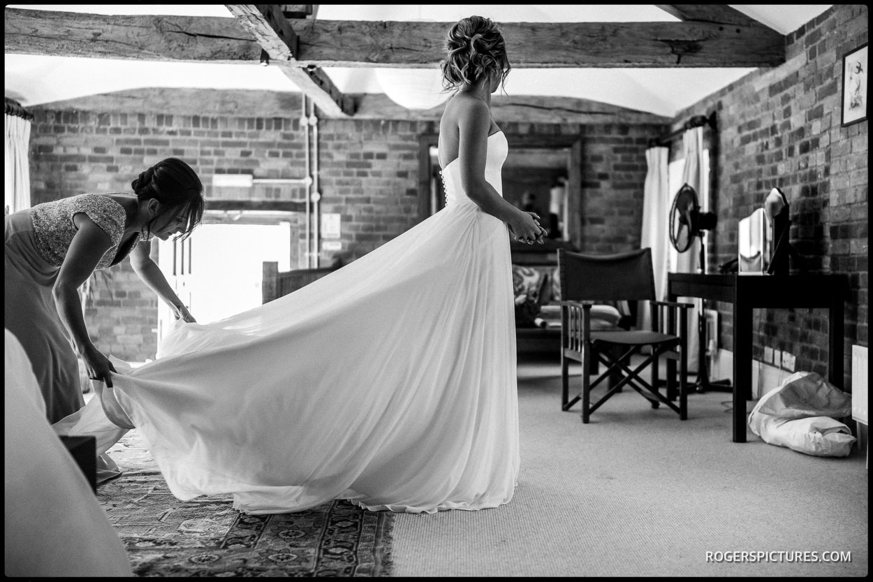 Black and white photo of Bride at Wasing Park