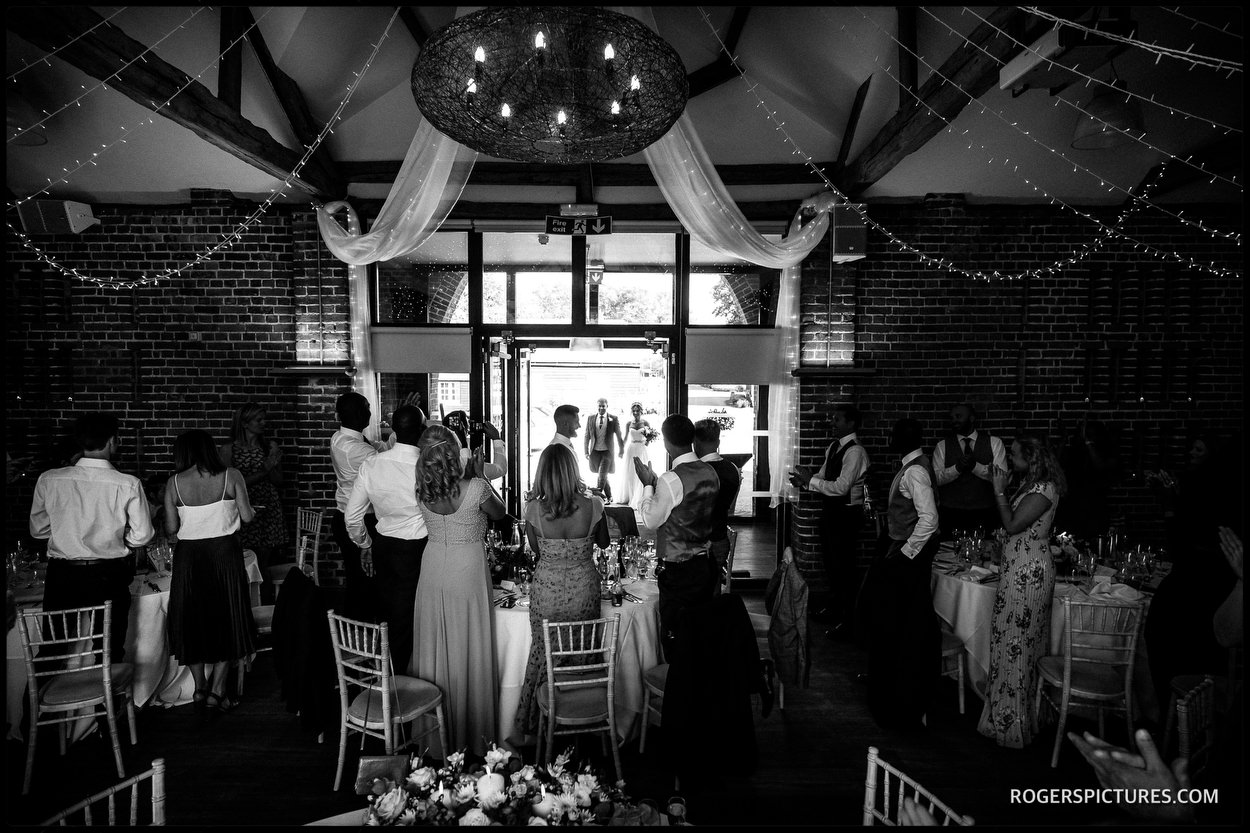 Wedding breakfast in the barn at Wasing Park