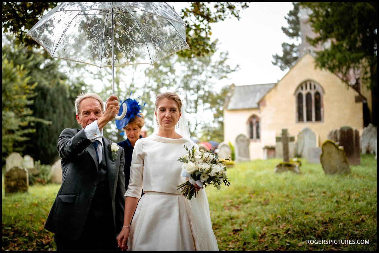 Rain at a church wedding in Devon