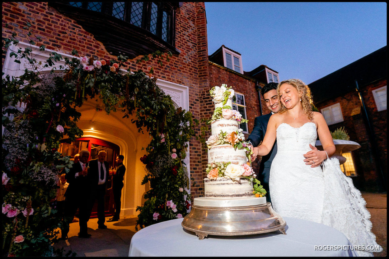 Cake cutting in the courtyard at Fulham Palace