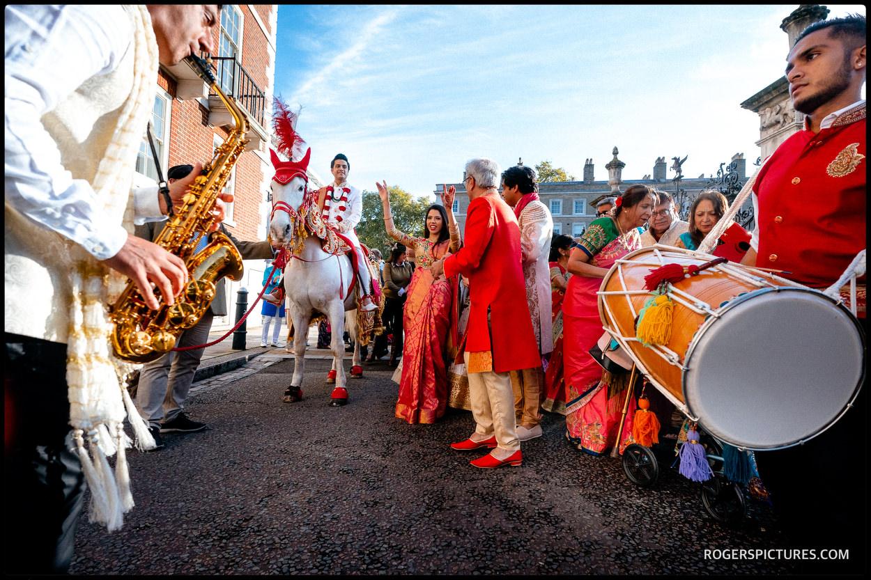 Grooms wedding procession baraat