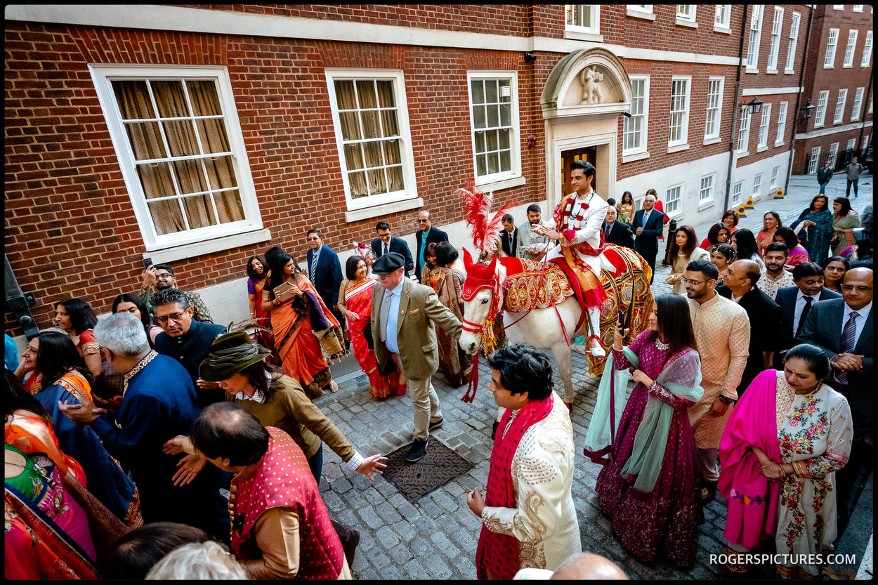 Indian groom Baraat at Middle Temple London