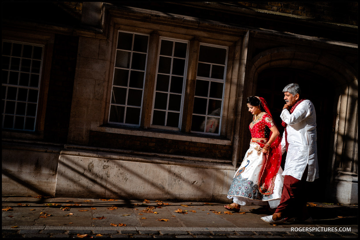 Indian Bride arriving for London wedding at Middle Temple