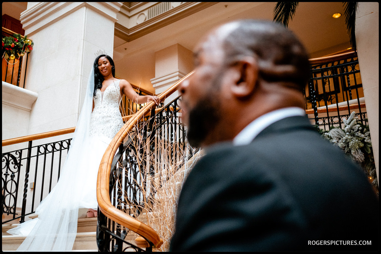 Bride and Father at The Landmark Hotel in London