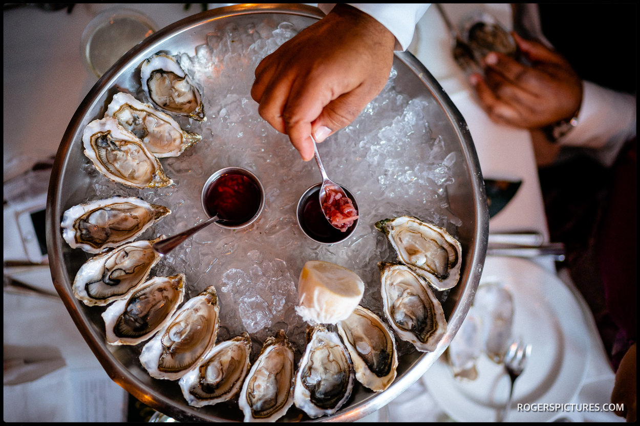 Oysters served Bistrotheque wedding venue in London