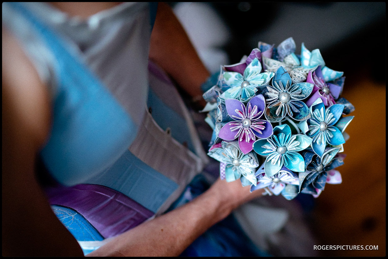 Paper origami wedding bouquet