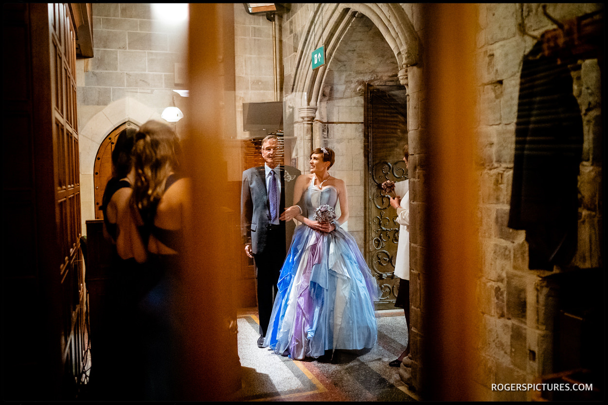 Bride and dad arrive at House of Commons for wedding