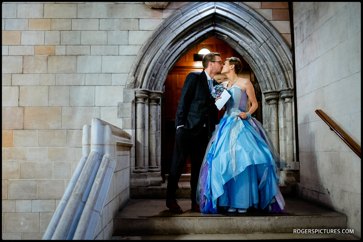 Bride and groom in Westminster Hall