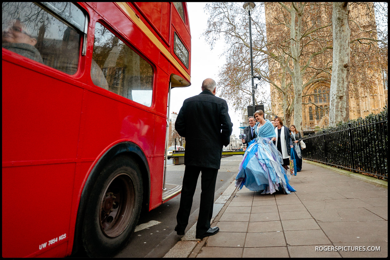 Wedding bus outside Parliament