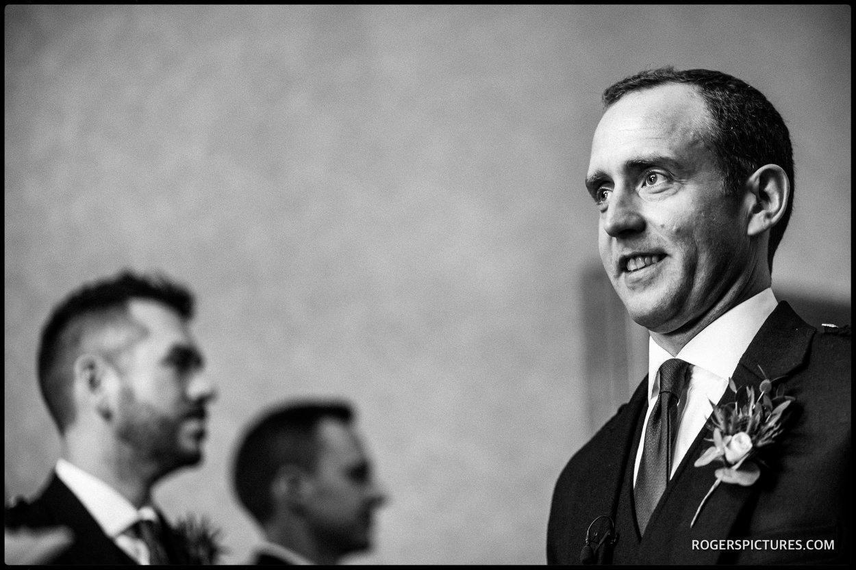 Nervous groom at Scottish wedding